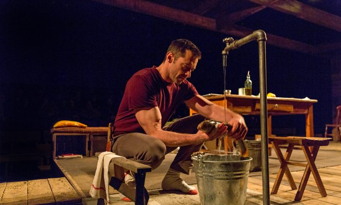 """Hugh Jackman in """"The River,"""" now playing at Broadway's Circle in the Square Theatre. (Richard Termine)"""