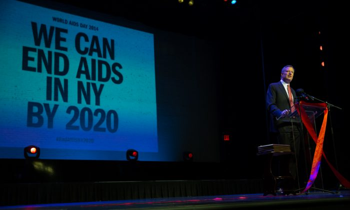 New York City mayor Bill de Blasio at a World Aids Day celebration in Harlem, Manhattan, N.Y., on Monday, Dec. 1, 2014. De Blasio supported an initiative to reduce the number of people living with HIV in New York State. (William Alatriste/New York City Council)