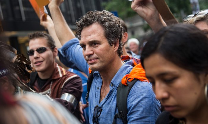 Mark Ruffalo participates in the People's Climate March in New York City, Sep. 21, 2014 . The march, which calls for drastic political and economic changes to slow global warming, has been organized by a coalition of unions, activists, politicians and scientists.  (Andrew Burton/Getty Images)