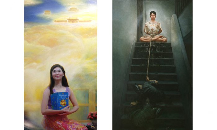 """""""Joyfully Climbing Heaven's Ladder"""" by Wang Jing and """"Unmovable Faith"""" by Li Ben (Courtesy of NTD Television)"""