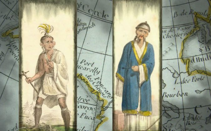 "Illustrations of a Chinese man and a Native American from the 18th or 19th century, artist unknown. Background: Mention of Fusang (""Fousang des Chinois"") on a 1792 French world map, in the area of modern British Columbia. (Wikimedia Commons; edited by Epoch Times)"