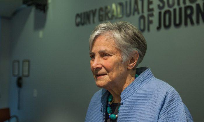 Diane Ravitch at City University of New York Graduate School of Journalism, Manhattan, NY, on Dec. 3, 2014. (Petr Svab/Epoch Times)