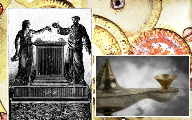 "Left: Marvelous altar, pictured in the book ""Magic, Stage Illusions and Scientific Diversions Including Trick Photography. Right: A file image of an ancient lamp. (Shutterstock; edited by Epoch Times) Background: Gears in a machine. (Shutterstock*)"