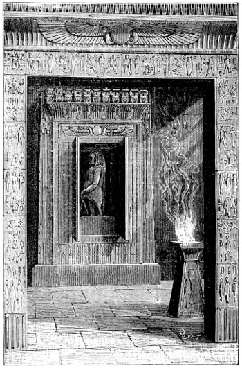 "Temple doors opened when a fire was lit upon the altar, , pictured in the book ""Magic, Stage Illusions and Scientific Diversions Including Trick Photography."""