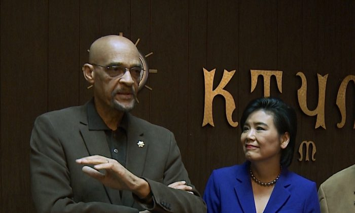 U.S. House Representative Judy Chu met with KTYM Radio host Earl Ofari Hutchinson for the Hutchinson Report in Inglewood, California, on Dec. 5, 2014. Chu said she would call for Congressional hearings on racial profiling and police practices during the next session of Congress. (Eric Zhang/Epoch Times)