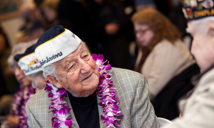 """Armando """"Chick"""" Galella, survivor of the attack on Pearl Harbor, attends a 73rd anniversary ceremony at the Intrepid Sea, Air & Space Museum in Manhattan on Sunday. (Petr Svab/Epoch Times)"""