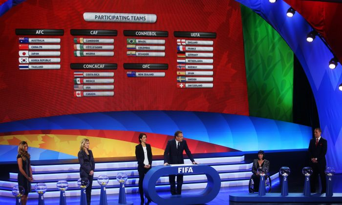 The FIFA Women's World Cup Canada 2015 tournament final draw takes place at the Canadian Museum of History in Gatineau, Canada, on Dec. 6, 2014. (Cole Burston/AFP/Getty Images)