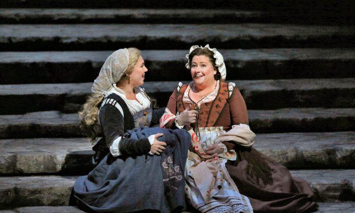 Eva (Annette Dasch) and her best friend Magdalene (Karen Cargill). (Ken Howard/Metropolitan Opera)
