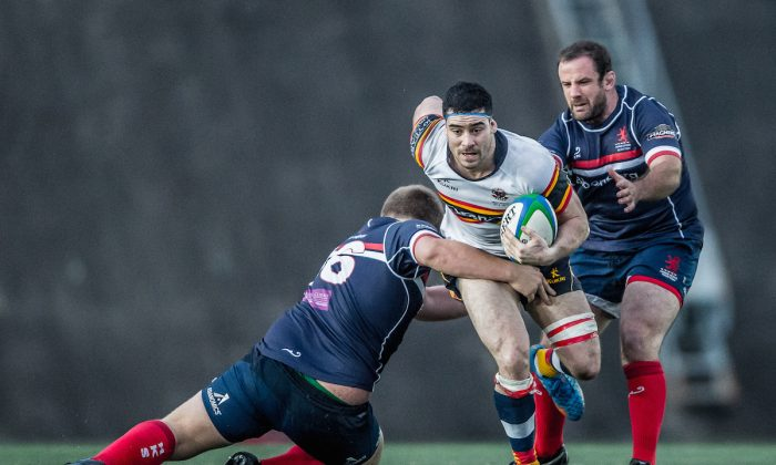 HKCC flanker Matt Lamming returned to action for the first time in two weeks for their match against HK Scottish at Shek Kip Mei on Saturday Dec. 6, 2014. (HKRFU)
