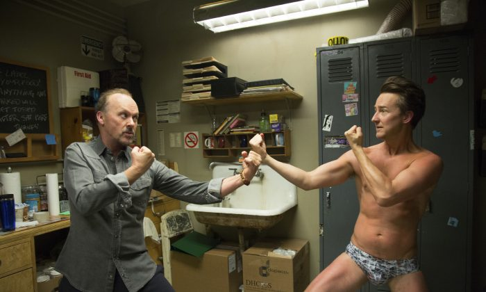 """This image released by Fox Searchlight Pictures shows Michael Keaton, left, and Edward Norton in a scene from """"Birdman,"""" which won the Academy Award for Best Picture on Sunday.  (AP Photo/Fox Searchlight Pictures)"""