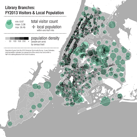 A map of New York showing population density and library visitors. (Marble Fairbanks)