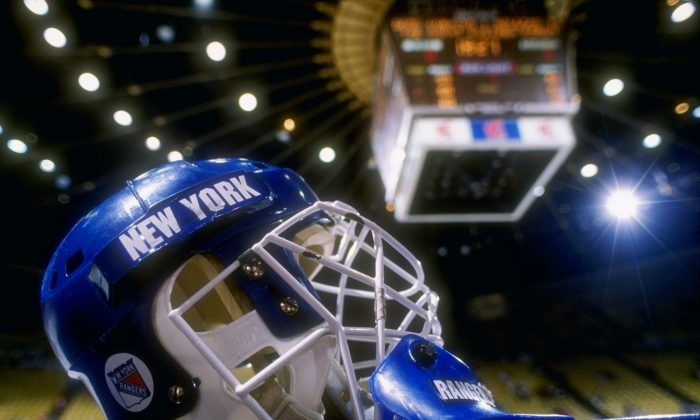 General view of a goalies helmet worn by the New York Rangers. (Mike Powell /Allsport/Getty Images)