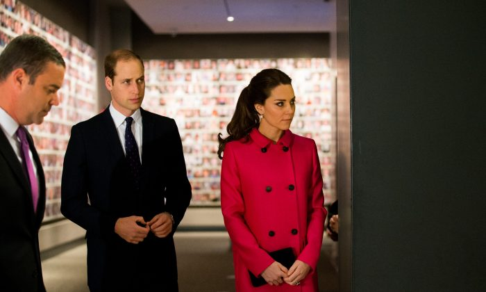 The Duke and Duchess of Cambridge visit to the National September 11 Memorial Museum: Prince William, Duke of Cambridge, and his wife, Catherine, Duchess of Cambridge, during a tour of the National September 11 Memorial Museum,  in New York, NY, Tuesday, Dec. 9, 2014. The royal couple are on an official two-day visit to New York.  (AP Photo/Doug Mills, Pool)