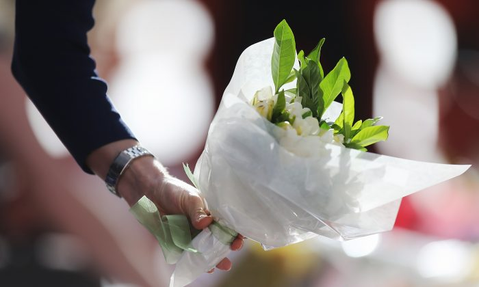 Flowers are left as a sign of respect at Martin Place on Dec. 17, 2014 in Sydney, Australia. (Joosep Martinson/Getty Images)