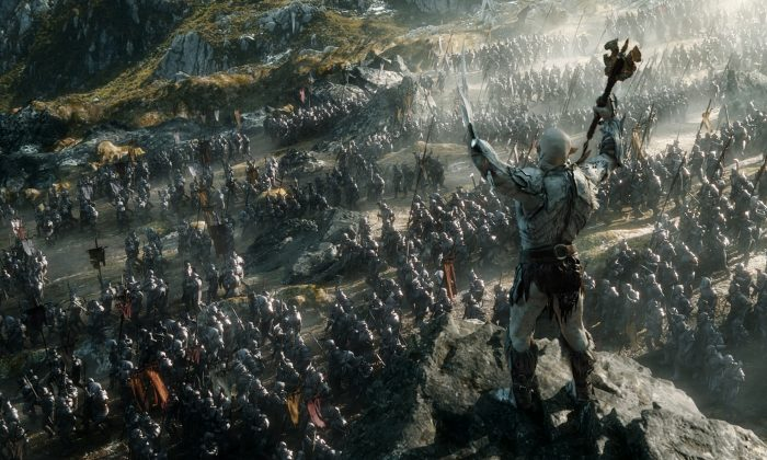 To Tolkien, the machine represents a means to attain power over others. His orcs – deformed and ugly creatures, whose hands are sometimes replaced with weapons – embody this lust for power. (Mark Pokorny/ Warner Bros. and MGM Pictures)