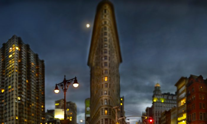 """""""Flatiron Building,"""" by Jeff Chien-Hsing Liao. Composite digital photograph. (Courtesy of Museum of the City of New York)"""