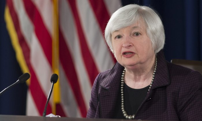 Fed chair Janet Yellen holds a press conference at the Federal Reserve Board on Dec. 17, 2014 in Washington, D.C. (Saul Loeb/AFP/Getty Images)