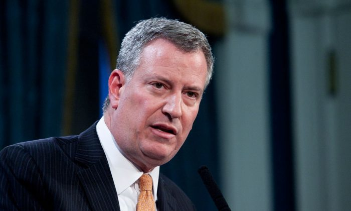 New York Mayor Bill de Blasio on Jan. 7, 2014.  (Samira Bouaou/Epoch Times)