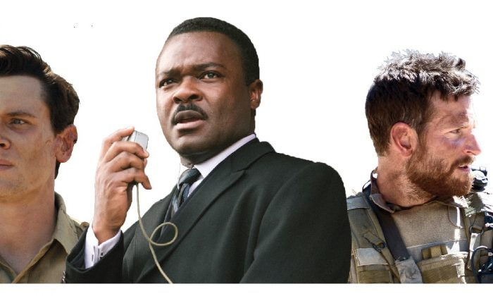 "Jack O'Connell as Louis Zamperini in ""Unbroken"" (Universal Pictures), David Oyelowo as Dr. Martin Luther King, Jr. in ""Selma"" (Paramount Pictures) and Bradley Cooper as Chris Kyle in ""American Sniper"" (Warner Bros.)"
