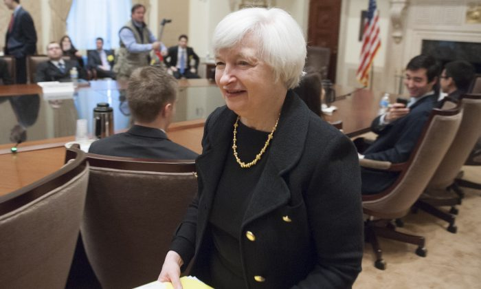 Federal Reserve Board Chair Janet Yellen in the Board Room at the Federal Reserve in Washington, D.C., Dec. 2, 2014. (Saul Loeb/AFP/Getty Images)