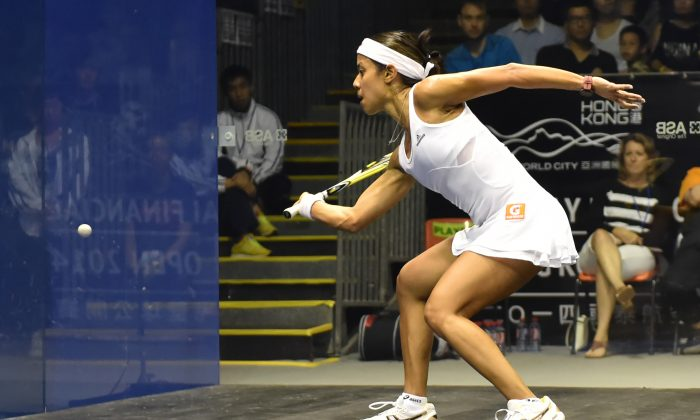 Malaysian Nicol David (shown here during the Hong Kong Squash Open 2014), wins her 8th world title at the Wadi DeglaWomen's World Squash Championship in Cairo on Saturday Dec 20, 2014. (Bill Cox/Epoch Times)