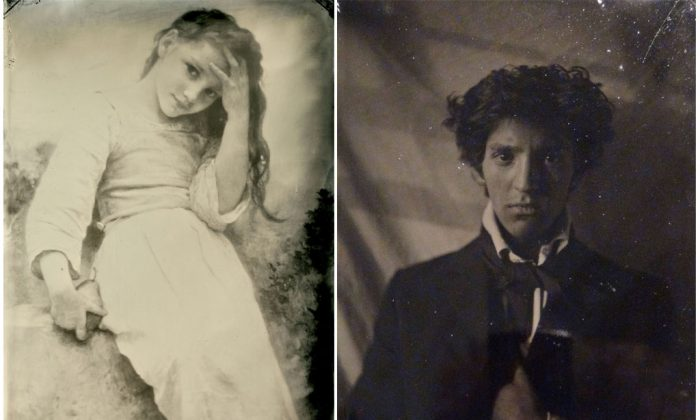 "Left: ""Petite Maraudeuse,"" 1900, by William Adolphe Bouguereau. Tintype by Pollard & Santoli Masters Gallery. 5 inches by 7 inches. Right: A tintype portrait of Eric Alexander Santoli by Charles Edward Harrigan. (Courtesy of Eric Santoli)"