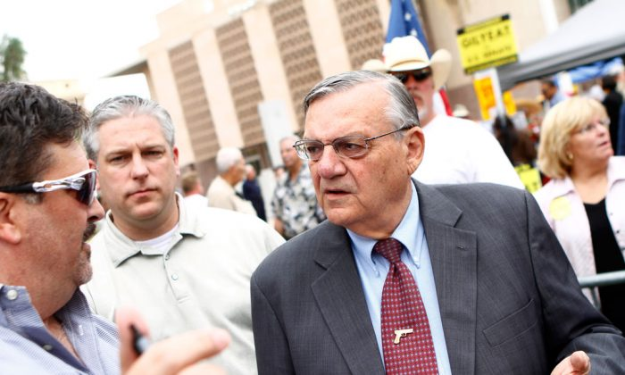 Maricopa County Sheriff Joe Arpaio attends a rally for the Tea Party Express national tour in Phoenix, on Oct. 22, 2010. Arpaio is the plaintiff in an unsuccessful lawsuit against President Barack Obama's immigration executive action. (Joshua Lott/Getty Images)