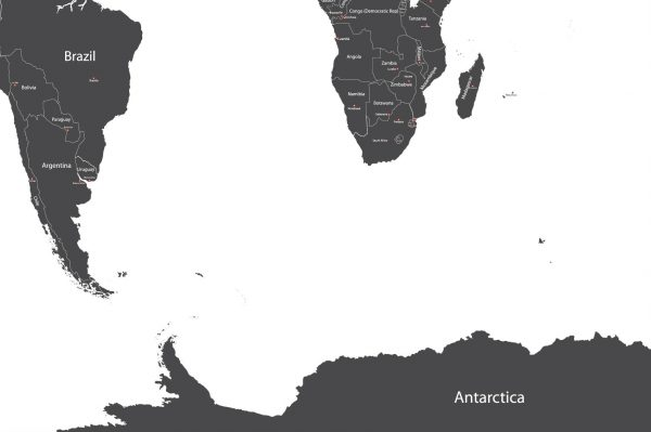 A modern map showing Brazil and Antarctica. (Shutterstock)