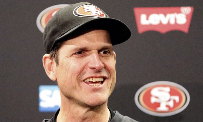 Jim Harbaugh, the former coach of the San Francisco 49ers, has signed a contract with the Michigan Wolverines, according to reports on Monday evening. San Francisco 49ers head coach Jim Harbaugh speaks at a news conference after the 49ers defeated the Arizona Cardinals 20-17 in an NFL football game in Santa Clara, Calif., Sunday, Dec. 28, 2014. (AP Photo/Tony Avelar)