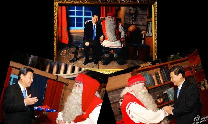 Xi Jinping enjoys a joyful moment with Santa during a Christmas celebration. (Weibo.com/liyuanfans)