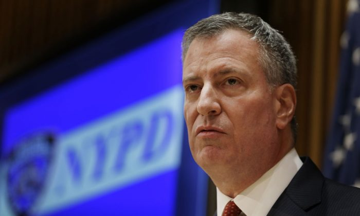Mayor Bill de Blasio at a news conference at police headquarters in New York on Dec. 22. De Blasio met with the heads of five police unions on Tuesday to discuss their concerns. (AP Photo/Seth Wenig)