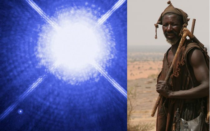 Left: Sirius A and Sirius B, shown in an image taken by the Hubble Space Telescope. The white dwarf can be seen to the lower left. (NASA, ESA, H. Bond/STScI, M. Barstow/University of Leicester) Right: A man of Mali's Dogon tribe.  (Ferdinand Reus/Wikimedia Commons)