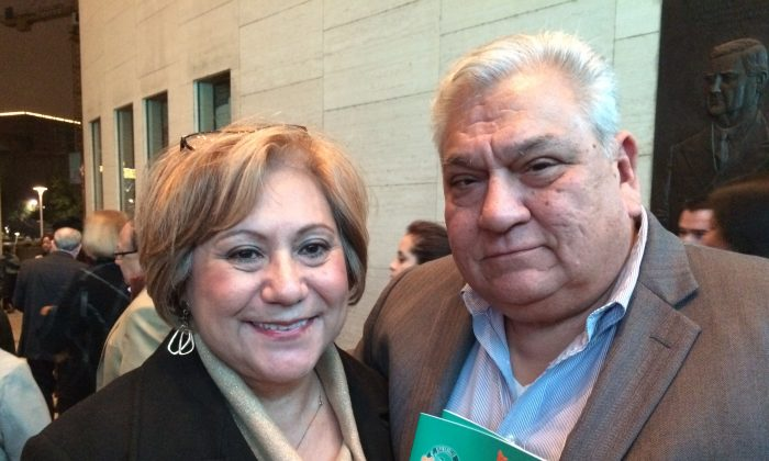 David and Evelyn Diaz at the Houston Jones Hall For The Performing Arts on Jan. 2, 2015. (June Fakkert/Epoch Times)