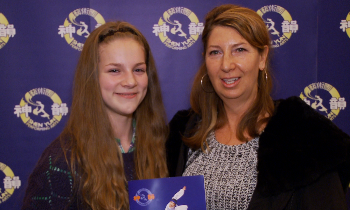 Carol McLeod (L) and her granddaughter Madison McDonald admired the skill of the dancers in the Shen Yun Performing Arts production at the national Arts Centre in Ottawa on Jan. 4, 2014. (NTD Television)