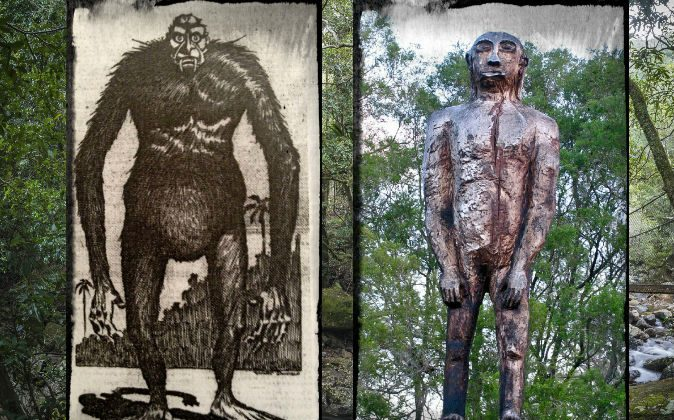 Left: A creature described by Australian surveyor Charles Harper, as depicted by artist Will Donald in the Sydney Sun in 1912. Right: A wooden yowie statue in Kilcoy, Queensland, Australia. (Wikimedia Commons) Background: A file photo of trees in New South Wales, Australia. (Klaus  Hollitzer/iStock/Thinkstock)