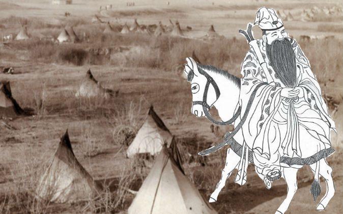 (R) A depiction of Zhang Guo Lao riding backward on his donkey. (Yeuan Fang/Epoch Times) Background: A Lakota camp, c. 1891. (John C. Grabill via Shutterstock*)