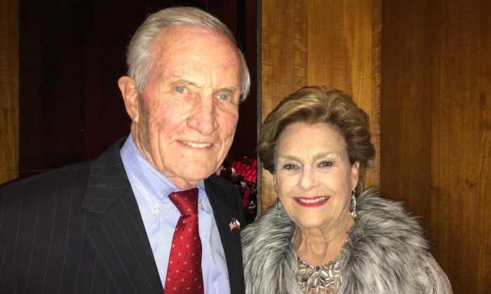 Former Texas Secretary of State George W. Strake Jr, and wife Annette Strake enjoyed Shen Yun at Jones Hall for the Performing Arts, in Houston, Jan. 6, 2015. (June Fakkert/Epoch Times)