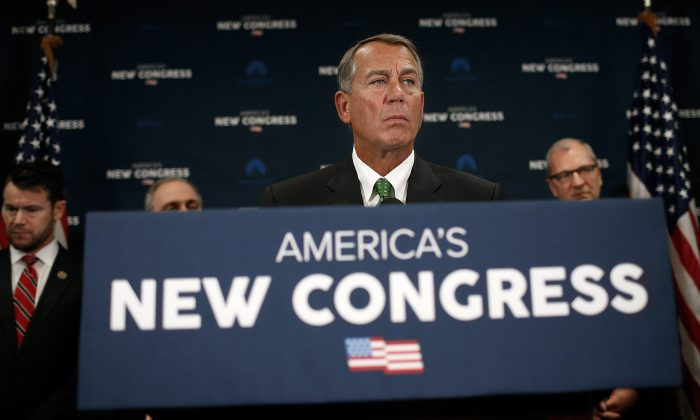Speaker of the House John Boehner (R-Ohio) discussed priorities of the new U.S. Congress during a press conference at the U.S. Capitol Jan. 7, in Washington, D.C. (Win McNamee/Getty Images)