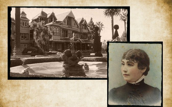 Top left: The Winchester Mystery House, San Jose. (Roxanna Salceda/Wikimedia Commons) Bottom right: Hand-tinted ambrotype of Sarah Winchester taken in 1865 by the Taber Photographic Company of San Francisco, 1865. (Wikimedia Commons) Background: (Ivan Smuk/iStock/Thinkstock)