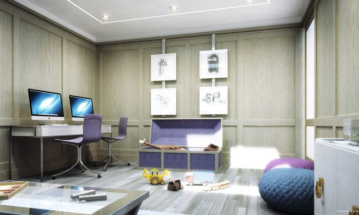 A rendering of the game room at The Charles, a luxury condominium tower made up of entirely full floor and multifloor residences on the Upper East Side. The game room is being designed to attract children and adults of all ages. (Williams New York)