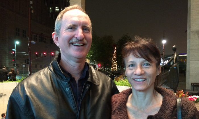 Scott Schultz and Adriana Schultz at the Jones Hall for the Performing Arts, in Houston, after enjoying Shen Yun Performing Arts on Jan. 2, 2015. (June Fakkert/Epoch Times)