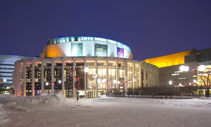 Place des Arts shines in the snow. Shen Yun Performing Arts is performing in Montreal premier venue until Sunday, January 11th, 2015. (Evan Ning/Epoch Times/File photo)
