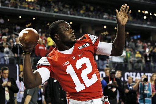 Ohio State's Cardale Jones warms up before the NCAA college football playoff championship game against Oregon Monday, Jan. 12, 2015, in Arlington, Texas. (AP Photo/Brandon Wade)