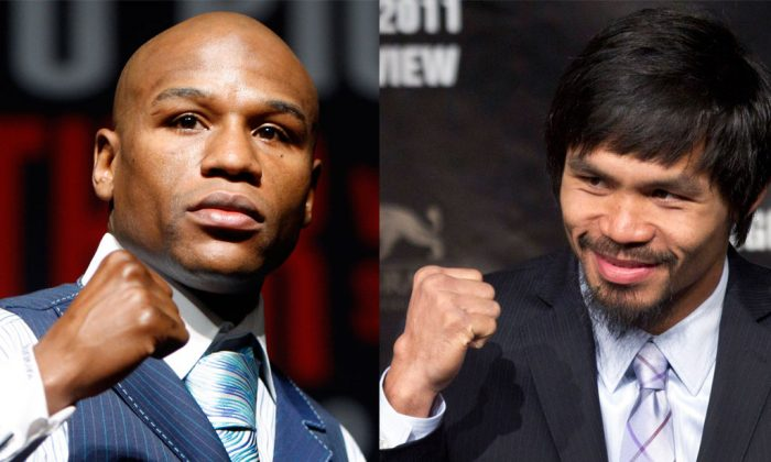 Left: Floyd Mayweather Jr. in Las Vegas in April 2010. (AP Photo/Isaac Brekken) Right: Manny Pacquiao in Las Vegas on May 4, 2011. Promoter Bob Arum said Wednesday, Jan. 14, 2015, that Pacquiao has agreed to all terms for what would be boxing's richest fight ever, a bout with Floyd Mayweather Jr. that fans have been demanding for five years. (AP Photo/Julie Jacobson)