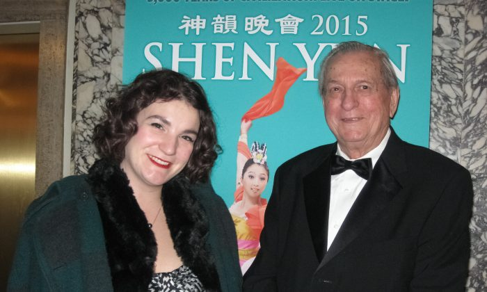 Don Kane and his niece, Breanna Thompson, selected Shen Yun Performing Arts at the Orpheum Theater to celebrate their January birthdays. (Cat Rooney/Epoch Times)