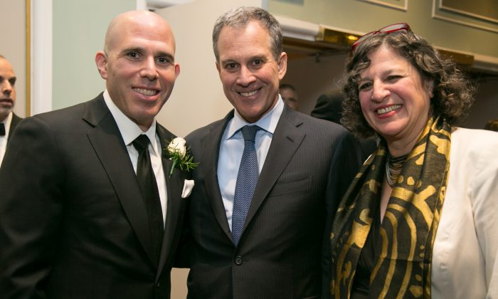 RXR Realty CEO and Vice-Chairman of The Port Authority of New York & New Jersey Scott Rechler, Attorney General of New York State Eric Schneiderman, and Wharton & Garrison LLP Partner Meredith Kane at the 119th Annual REBNY Banquet in New York on Jan. 15, 2015. (Benjamin Chasteen/Epoch Times)
