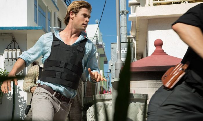 """Chris Hemsworth stars as furloughed convict Nicholas Hathaway, who is tasked with tracking a cybercriminal in """"Blackhat."""" (Frank Connor/Legendary Pictures and Universal Pictures)"""