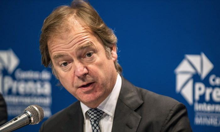 British Minister of State for the Foreign and Commonwealth Office, Hugo Swire, speaks during a press conference in Havana, on October 31, 2014. (Yamil Lage/AFP/Getty Images)