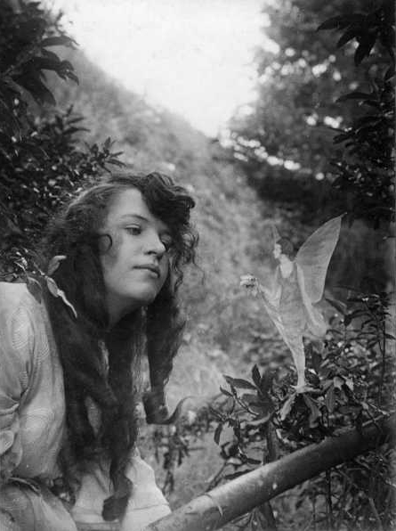 "The fourth photograph, ""Fairy Offering Posy of Harebells to Elsie."" (Public Domain)"
