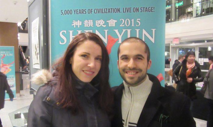 Steven Lovett and Elsa Brink attend Shen Yun at the Queen Elizabeth Theatre in Vancouver on Jan. 17, 2015. (Ryan Moffatt/Epoch Times)